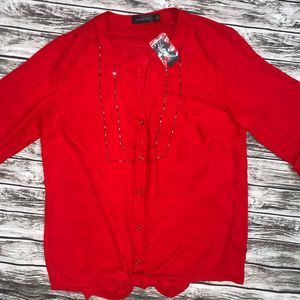 NWT The Limited Sheer Red Blouse Sz S